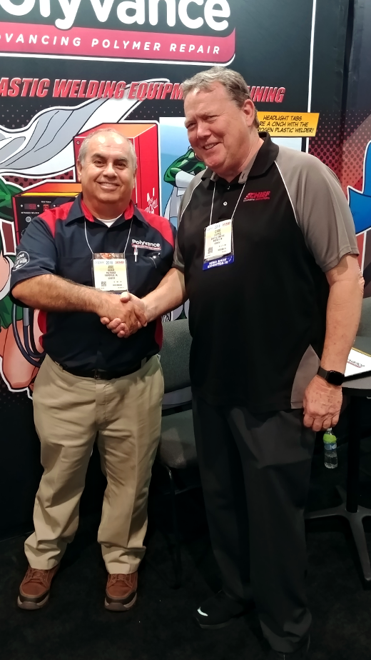 Jose Heded with our newest preferred jobber, Chris Stoffel of Southern California Collision Equipment.