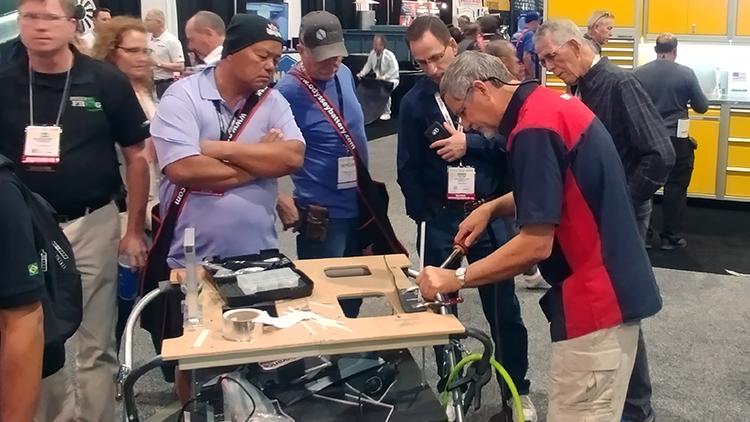 Randy doing a demonstration of our nitrogen plastic welder.