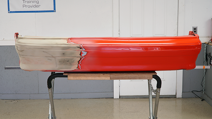 The 1993 Ford Mustang Cobra rear bumper after welding.
