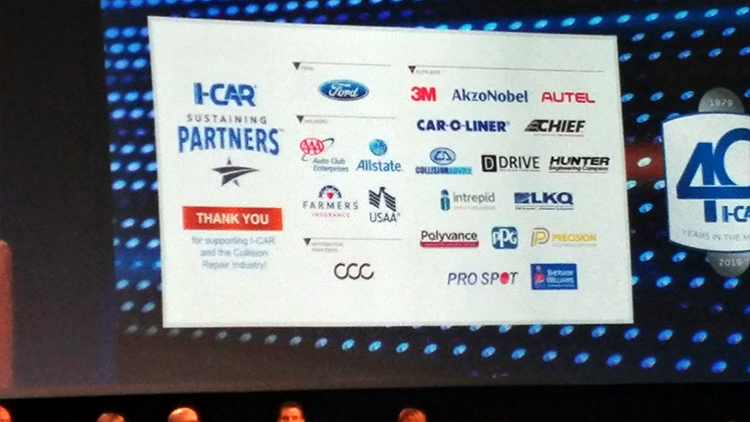 Polyvance's logo appearing on a board with many other company logos