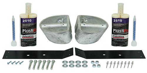 Kenworth W900 hood repair kit for hoods with round hood pockets.