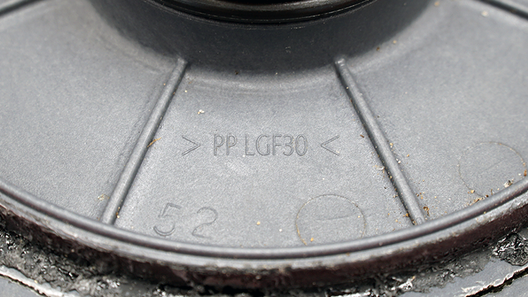The plastic identification symbol on the pool pump housing. It reads PP LGF30
