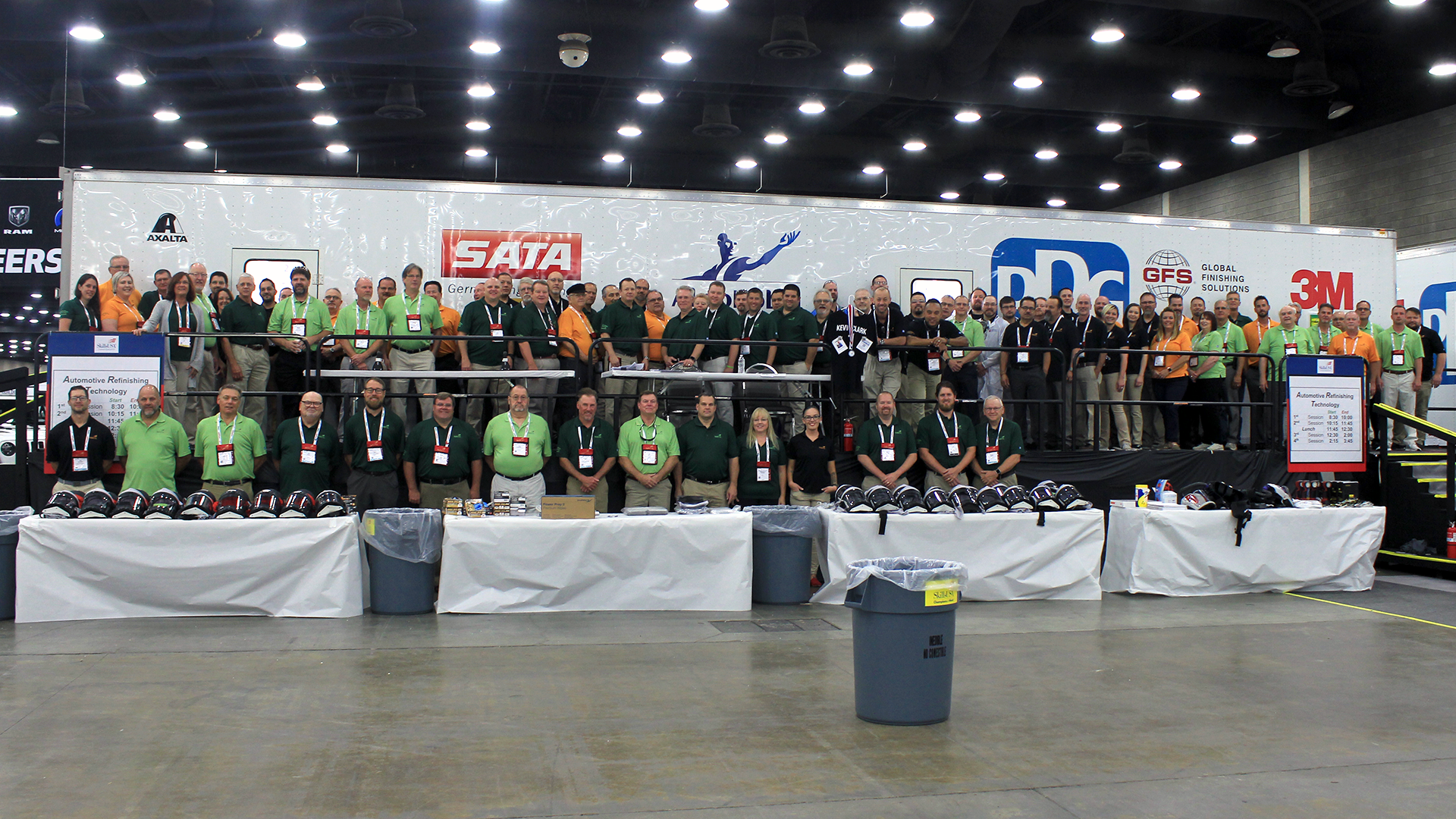 A group shot of the volunteers for the Automotive Refinishing Technology and Collision Repair Technology competitions.