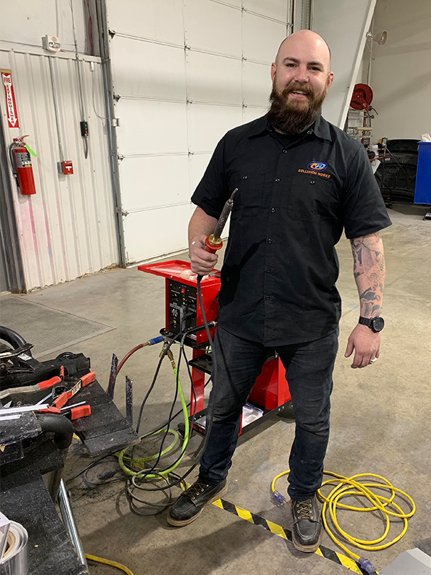 Tanner Jacobs with his Polyvance nitrogen plastic welder