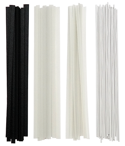 One stack of flat black welding rods, one stack of flate natural welding rods, one stack of corner natural welding rods, and one stack of round white welding rods.