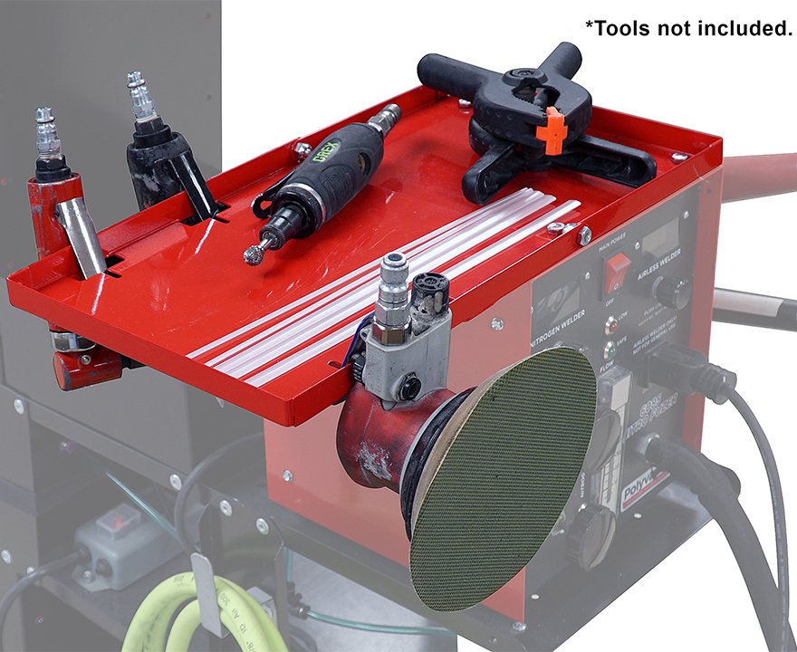 6074 Nitro Fuzer Accessory shelf with a variety of plastic repair tools on top (tools not included).
